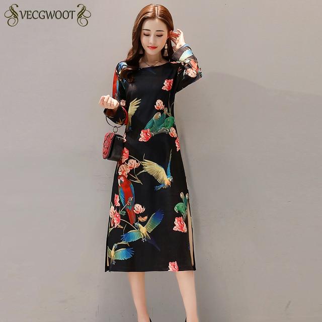 New Autumn Winter National wind Women Dress 3XL Retro Slim Was thin Printed Dress Long-sleeved Cheongsam Dress Female QW68