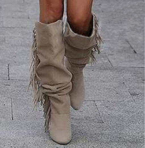 Latest name tassel knee high women winter boots fashion side fringe high heel long suede leather boots hot selling boots hot selling chic stylish black grey suede leather patchwork boots mid calf spike heels middle fringe boots side tassel boots