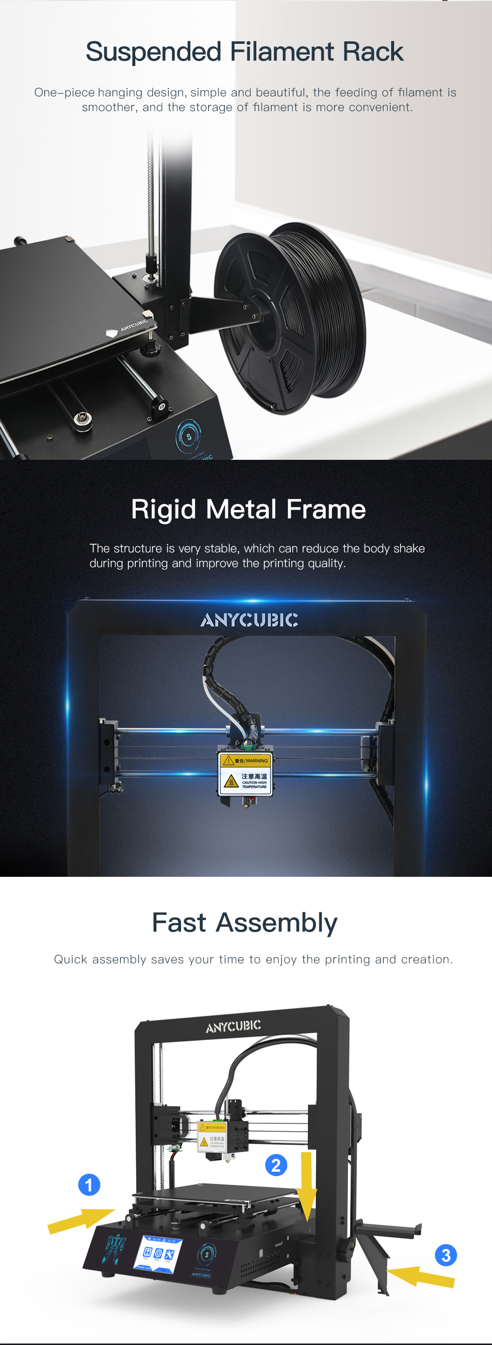 Anycubic i3 Mega Color 3D Printer With High Precision Touch Screen And PLA Material