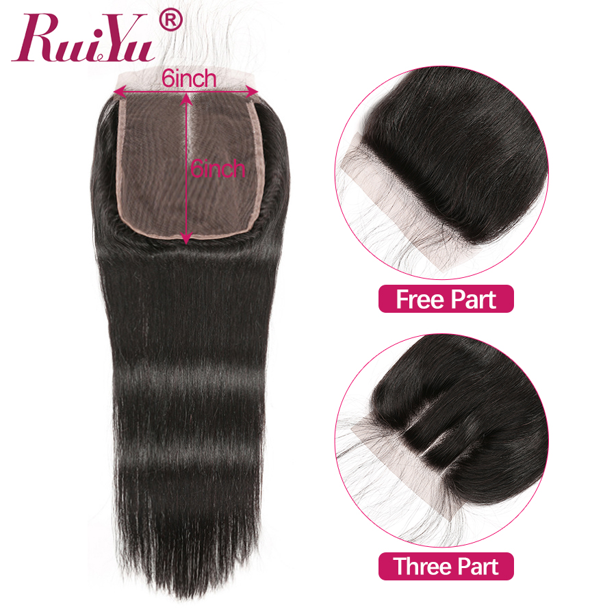 RUIYU 6x6 Lace Closure Brazilian Straight Human Hair Swiss Lace Closure Pre Plucked With Baby Hair