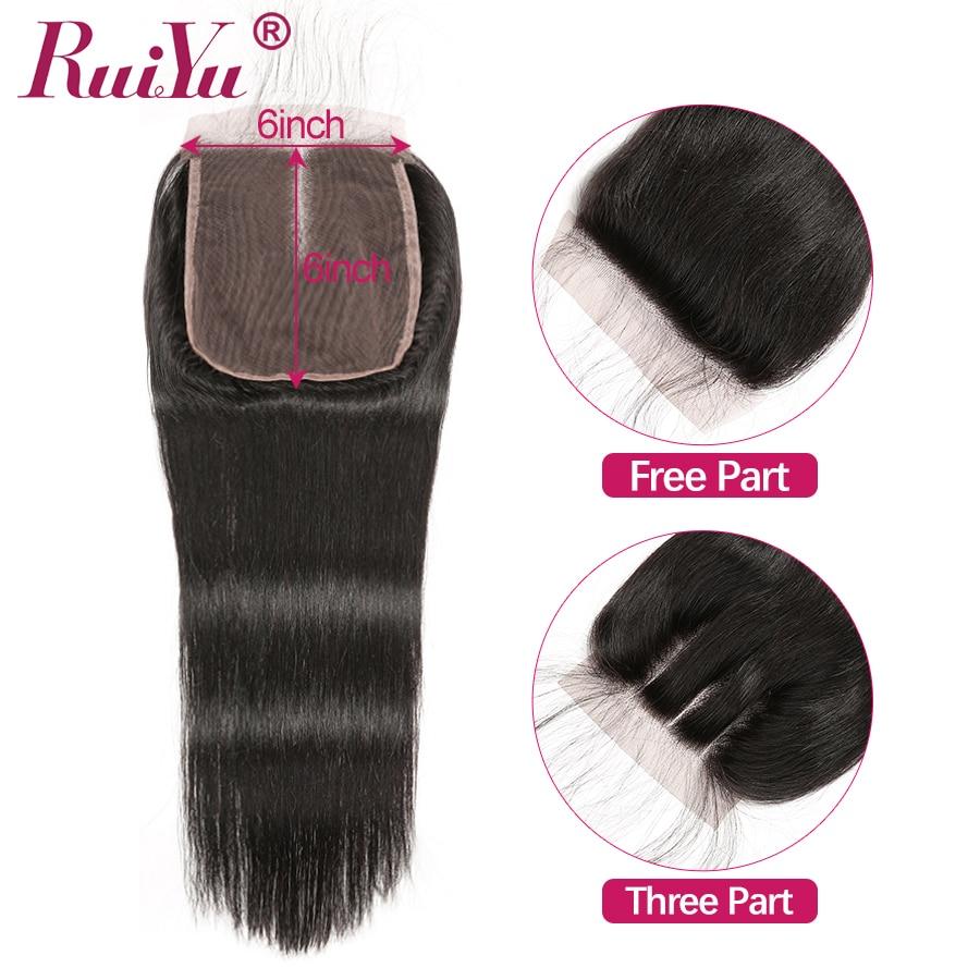 RUIYU 6x6 Lace Closure Brazilian Straight Human Hair Swiss Lace Closure Pre Plucked With Baby Hair