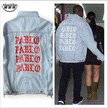Man Si Tun 2017 New Pablo Kanye West Denim Jackets Men The Life Of Pablo kanye Denim Jeans Oversized Denim Jacket Coats S-XL
