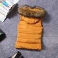 Дешевые оптовая 2017 новый Осень-Зима Горячие продажа женская мода повседневная искусственный шерсти воротник жилет вниз хлопка куртки жилет