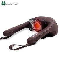 JinKaiRui Infrared Heating Electrical Shiatsu Neck Shoulder Massager Kneading Massaj Home Office Massagem