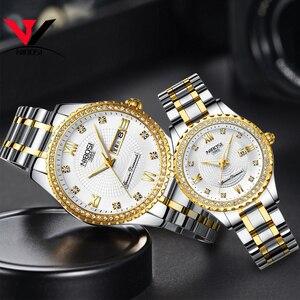 Image 1 - Montres NIBOSI pour amoureux unisexe montre de luxe pour hommes et montres pour femmes montre bracelet à Quartz étanche montre bracelet pour femme en cristal