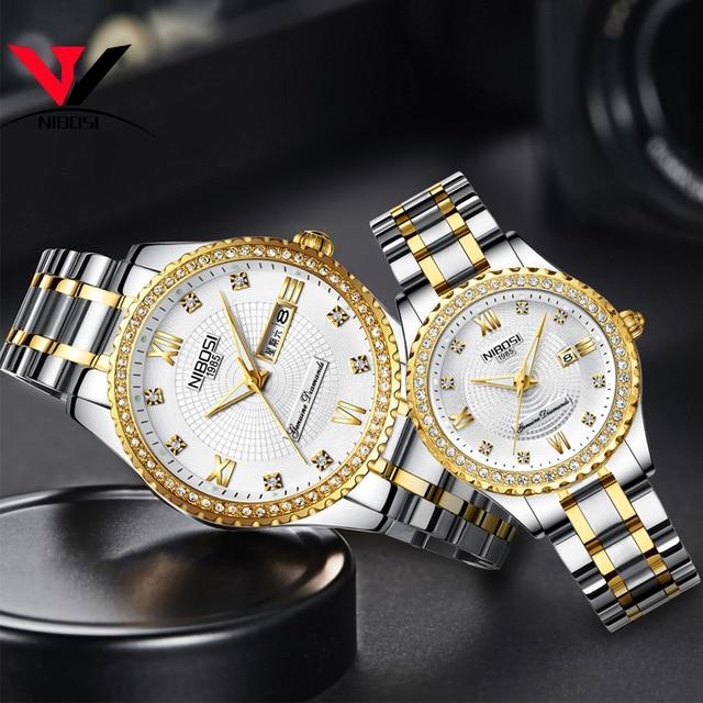 Nibosi unisex amante relógios marca superior de luxo relógio masculino e relógios feminino à prova dwaterproof água relógio de quartzo senhora cristal