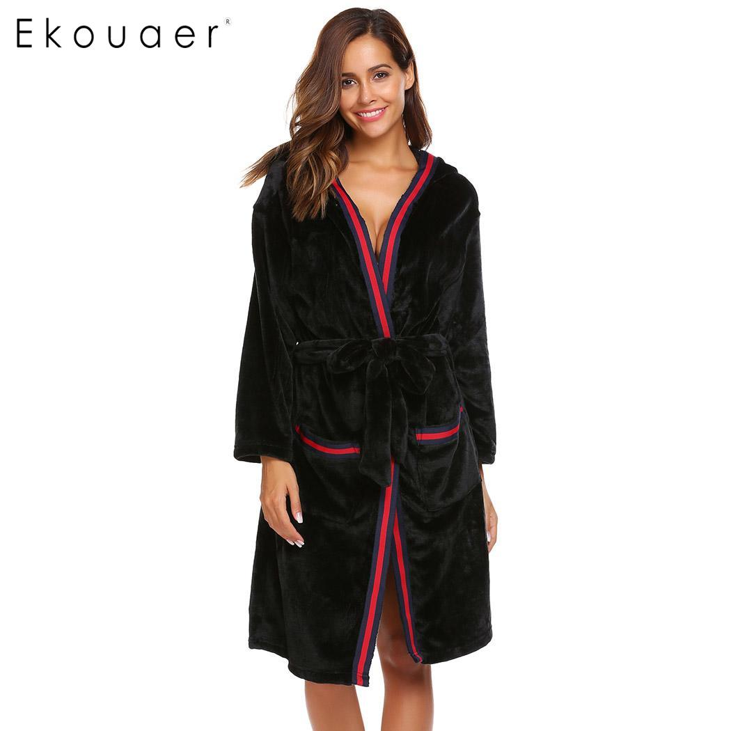 Ekouaer Sleepwear Robe Women Bathrobe Casual Long Sleeve Hooded Women Warm  Winter Kimono Spa Bath Robes 75a1d42341f6