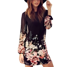 Women Sexy Chiffon Long Sleeve Printed Evening  Party Beach Summer Mini Dress