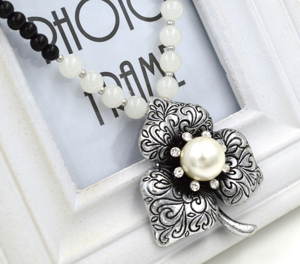 Noble Women Long Design Vintage Silver Three Petal Flower Simulated Pearl Rhinestone Sweater Necklace N2624