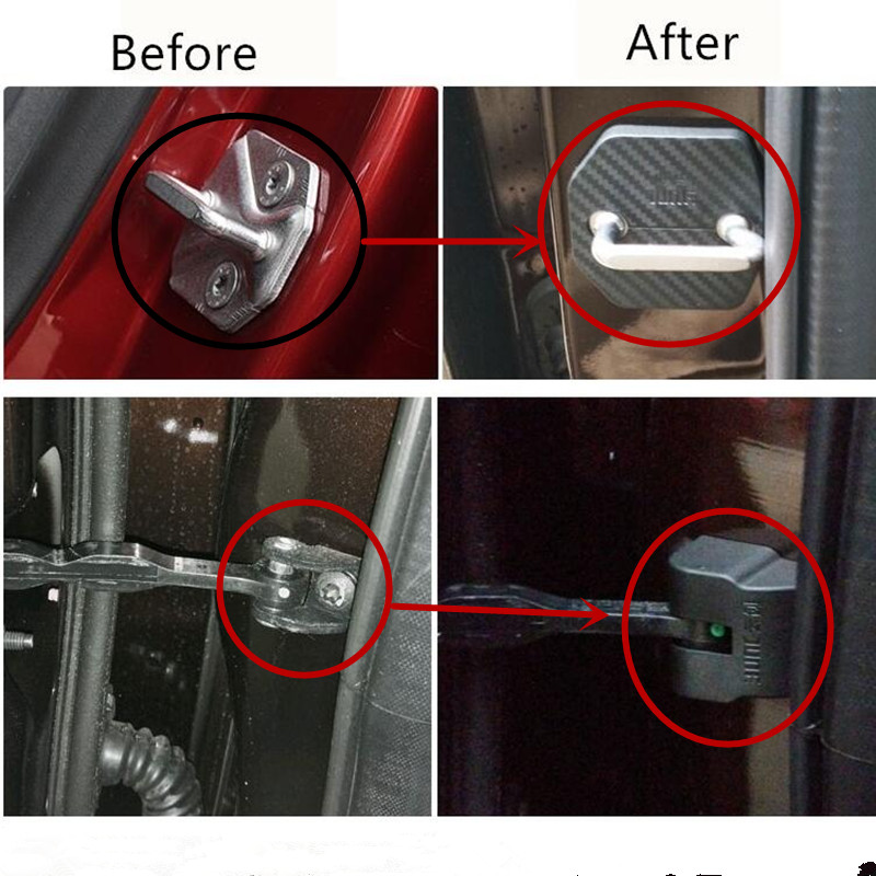 Benke car styling 4pcs/set For 2016 Ford Everest Door lock hole fiber cover and Door arrester protection cover locked lid -in Interior Mouldings from ... & Benke car styling 4pcs/set For 2016 Ford Everest Door lock hole ...