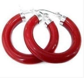 Beautiful Tibet Silver Red Earrings