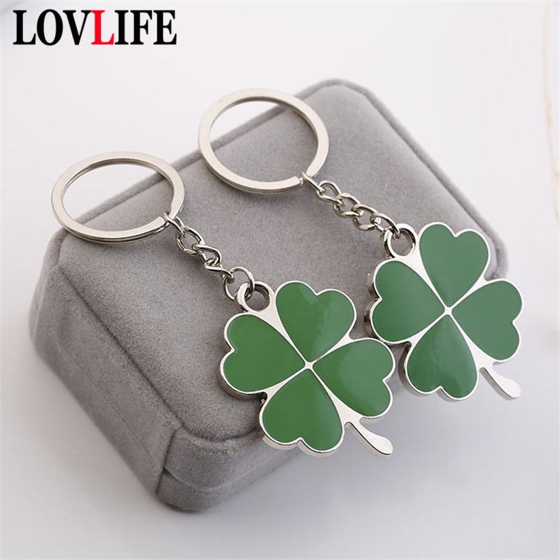 Four Leaf Clover Keychain Stainless Steel Key Ring Lucky Car Key Chain Creative Fashion Key Holder Bag Pendant Charm Key Jewelry