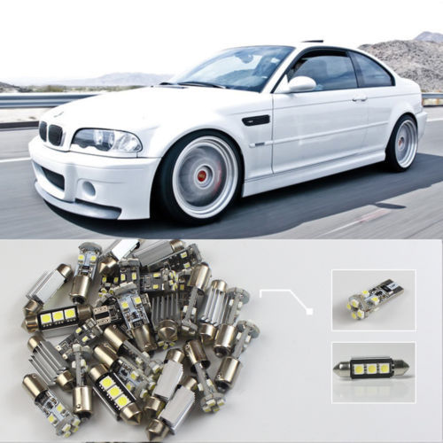 Free Shipping!! #80 23x For E46 Sedan Coupe M3 1998-2005 White LED Lights Interior Dome Reading Kit CANBUS free shipping 60 17x a4 s4 b5 1998 2001 white led lights interior package kit canbus