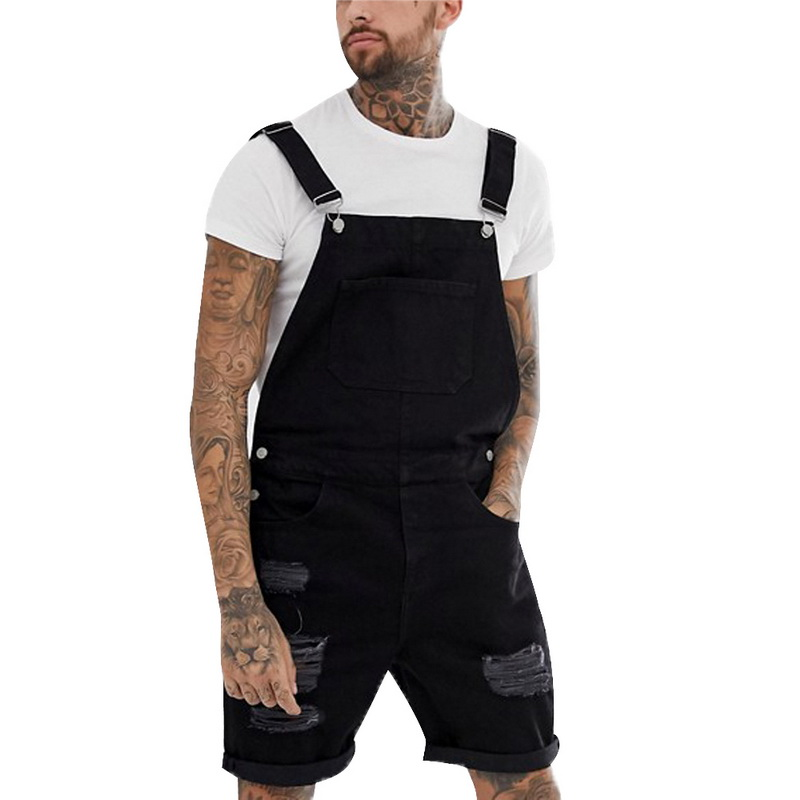 Litthing Summer Fashion Men Ripped Jeans Jumpsuits   Shorts   Street Style Distressed Denim Bib Overalls Mens Casual Suspender Pant