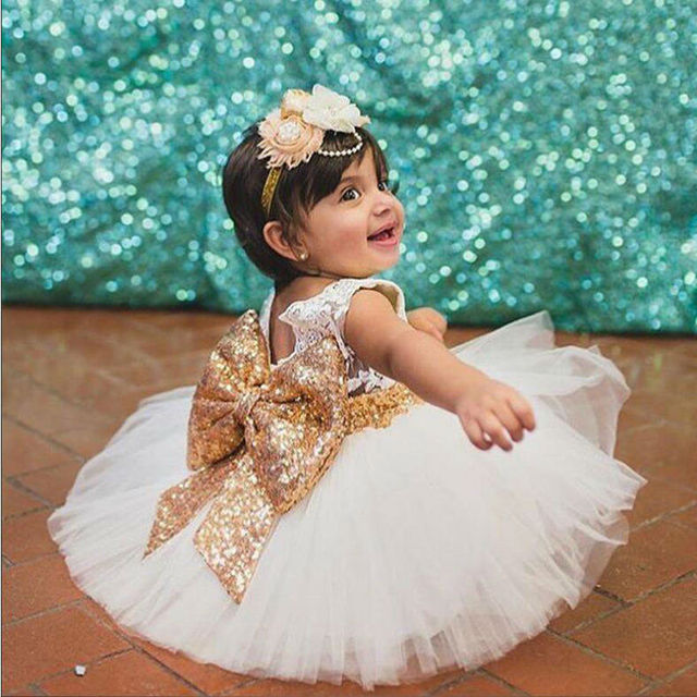 2017 Infant Baby Girls Sequined Bow Dress Kids Wedding Party Dresses Children Clothing Vestido De Festa Infantil Menina