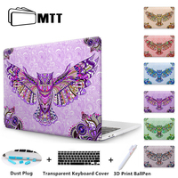MTT PC Crystal Hard Cover Case For Macbook Pro 13 15 With/Non Touch Bar 2016 2017 New A1706/A1708/A1707 Printed Eagle Owl Shell