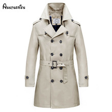 2017 Fashion Autumn New Mens Trench Coats Washed Cotton Long Male Windbreaker Outwear Windcoats D70