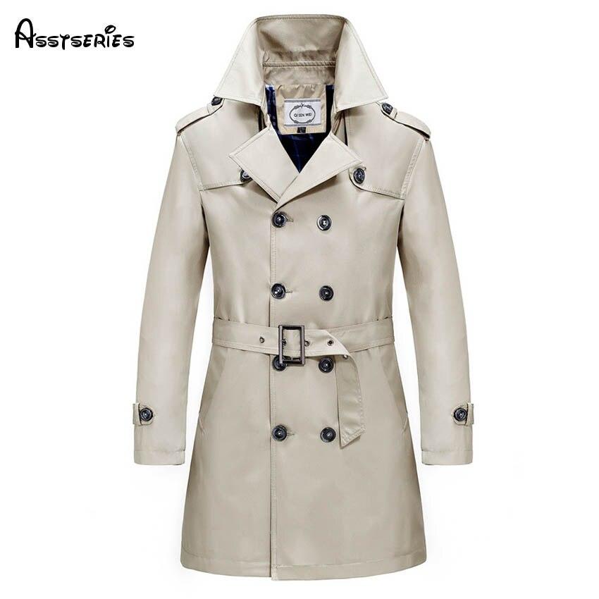 5XL Men's Parkas Long Trench Coats Spring Men Business jackets Male manteau homme mens slim overcoat Windbreaker h109