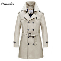 5XL Men's Parkas Long Trench Coats Spring Men Business jackets Male manteau homme mens slim overcoat Windbreaker h109