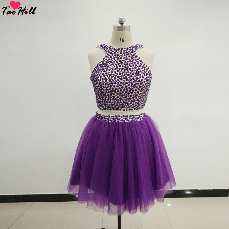 TaoHill Sexy Purple   Cocktail     Dress   2019 Two Pieces A-line Beading Short   Cocktail     Dress   School Prom