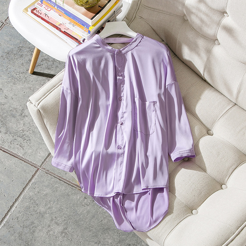 Women fashion sexy back cut out elegant 3/4 sleeve tops and blouse ruched solid color asymmetric new 2018 summer pink jenni new pink solid ruffled chemise l $39 5 dbfl