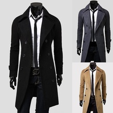 ZOGAA New Mens Long Coat Double Lines Buttons Lengthened Briefnessand Casual Wool Slim Fit Woollen Trench Coats
