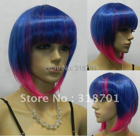 (Free Shipping) Cosplay Wig Short Light Blue purple mixed color Straight Synthetic Hair Wigs