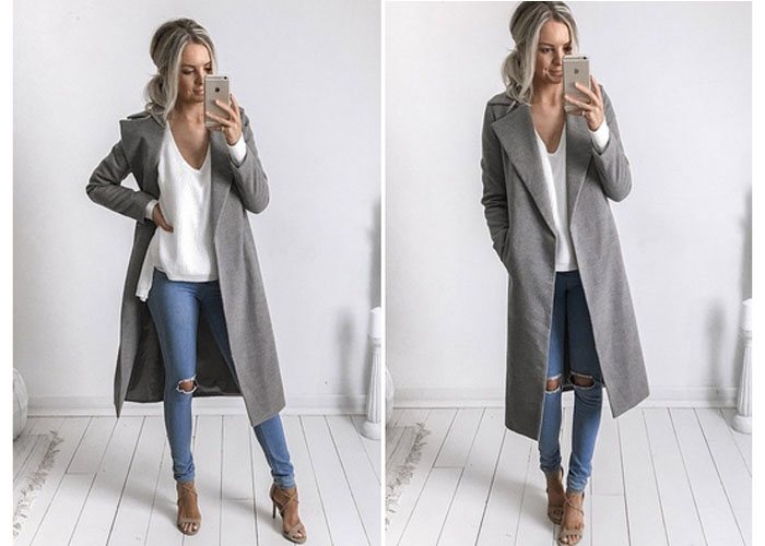 4d248de220b Women Slim Winter Warm Wool Lapel Long Coat Trench Parka Jacket Overcoat  Outwear