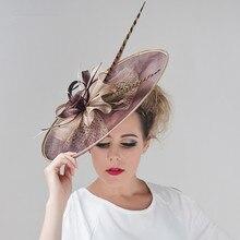 Chapeau de fête mariage Sinamay pour femmes, coiffeurs à large bord, couvre chef Fedora Kentucky Derby, accessoires pour cheveux en église