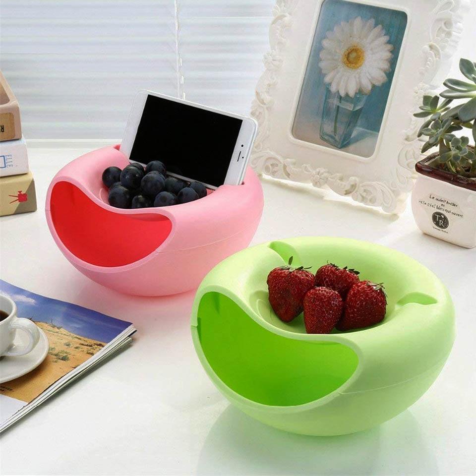 Прямая поставка креативная форма ленивая закуска Чаша Пластиковая двухслойная коробка для хранения еды для перекуса чаша Фруктовая тарелка чаша с держателем телефона для телевизора