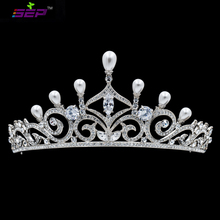 Austrian Crystals Rhinestone Imitation Pearls Tiara Wedding Crown Bridal Hair Jewelry Accessories Pageant Headpiece SHA8750