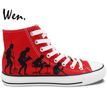Wen Red Hand Painted Shoes Design Custom Human Evolution High Top Canvas Sneakers for Men Women's Gifts