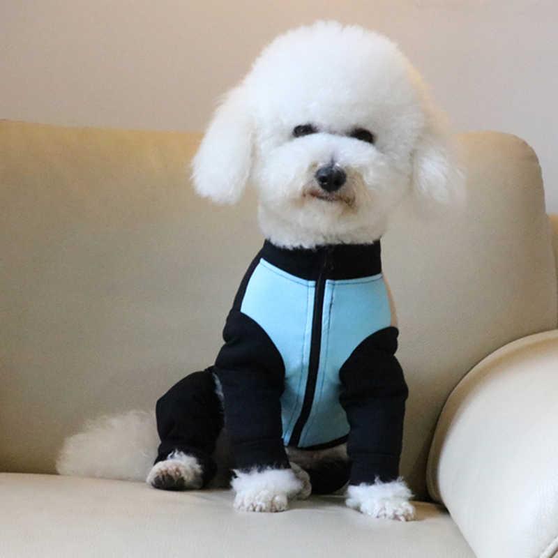 Kombinezon dla psa cienki 100% bawełna strój dla szczeniaczka niebieski czarny łączenie kombinezony piżama z długim rękawem dla małych psów pudel bluza