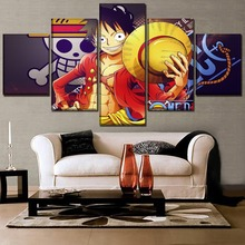 5 Panel Monkey D. Luffy Anime One Piece Poster Canvas Print Modern Wall Art Home Decor Set Framework Or Unframed Painting