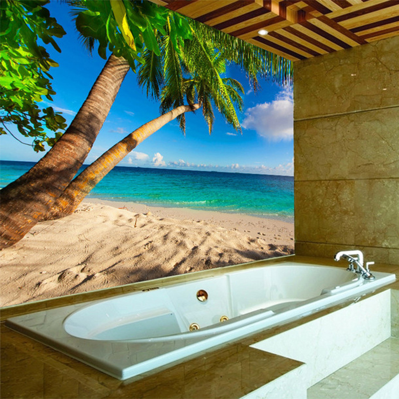 Custom Photo Wall Paper 3D Beach Coconut Palm Landscape Mural Bathroom Waterproof Background Wall Sticker Decor Papel De Parede