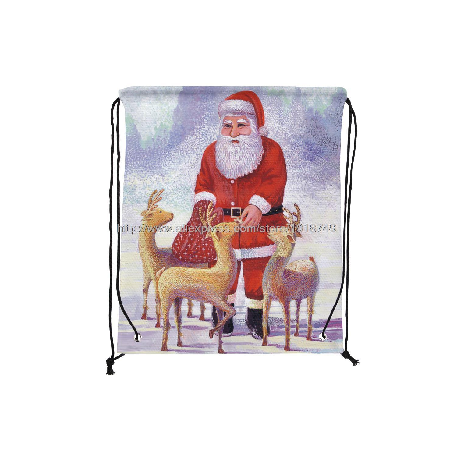 four pcs/lot father christmas with antelope in winter printed custom drawstring bags xmas decoration white shopping backpack