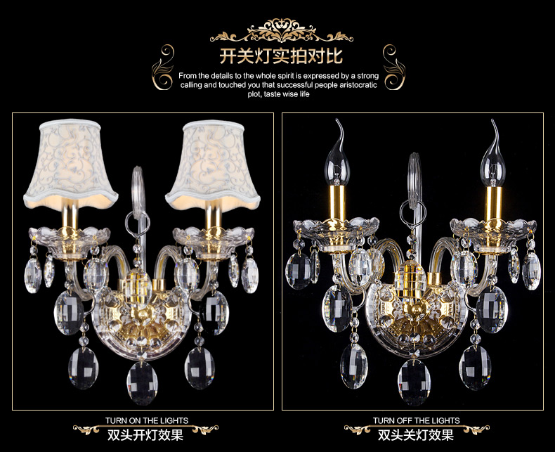 Image 3 - Luxury top K9 crystals transparent gold Crystal Wall Lamp Candle 1/2/3 E14 Bulbs heads lampshades beside bed room light-in Wall Lamps from Lights & Lighting
