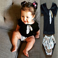 Fashion new style Baby girl clothes Summer Brand kids clothes baby girl clothing set black T shirt + shorts 2pcs infant clothing