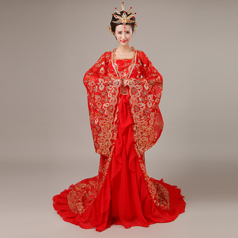 Ancient imperial concubine tail fairy Tang Costumes ancient women 39 s clothing Han clothes female princess dance clothing in Chinese Folk Dance from Novelty amp Special Use