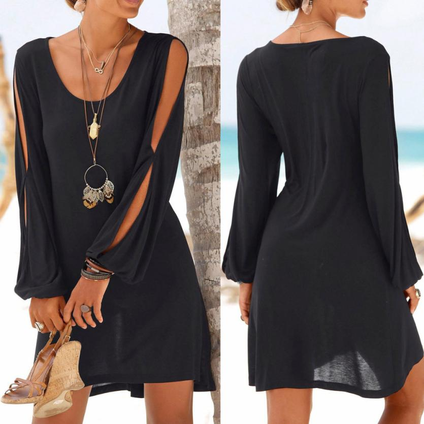 KANCOOLD dress Casual O-Neck Hollow Out Sleeve Straight Dress Solid Beach Mini dress
