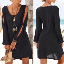 KANCOOLD модное женское Повседневное платье с круглым вырезом, с вырезами, с рукавами, прямое платье, пляжный стиль, Мини платье для женщин 2018jul20