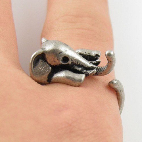 2016 New Elephant Animal Ring in Antique Silver and Bronze color for Woman Unique Rings JZ301 3