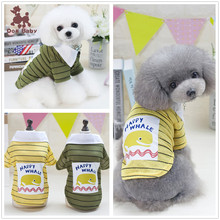 Happy Whale Summer Pet Puppy Small Dog Clothes Vest T Shirt Apparel Dog Clothes Summer Vest White Collar Shirt For Small Dogs