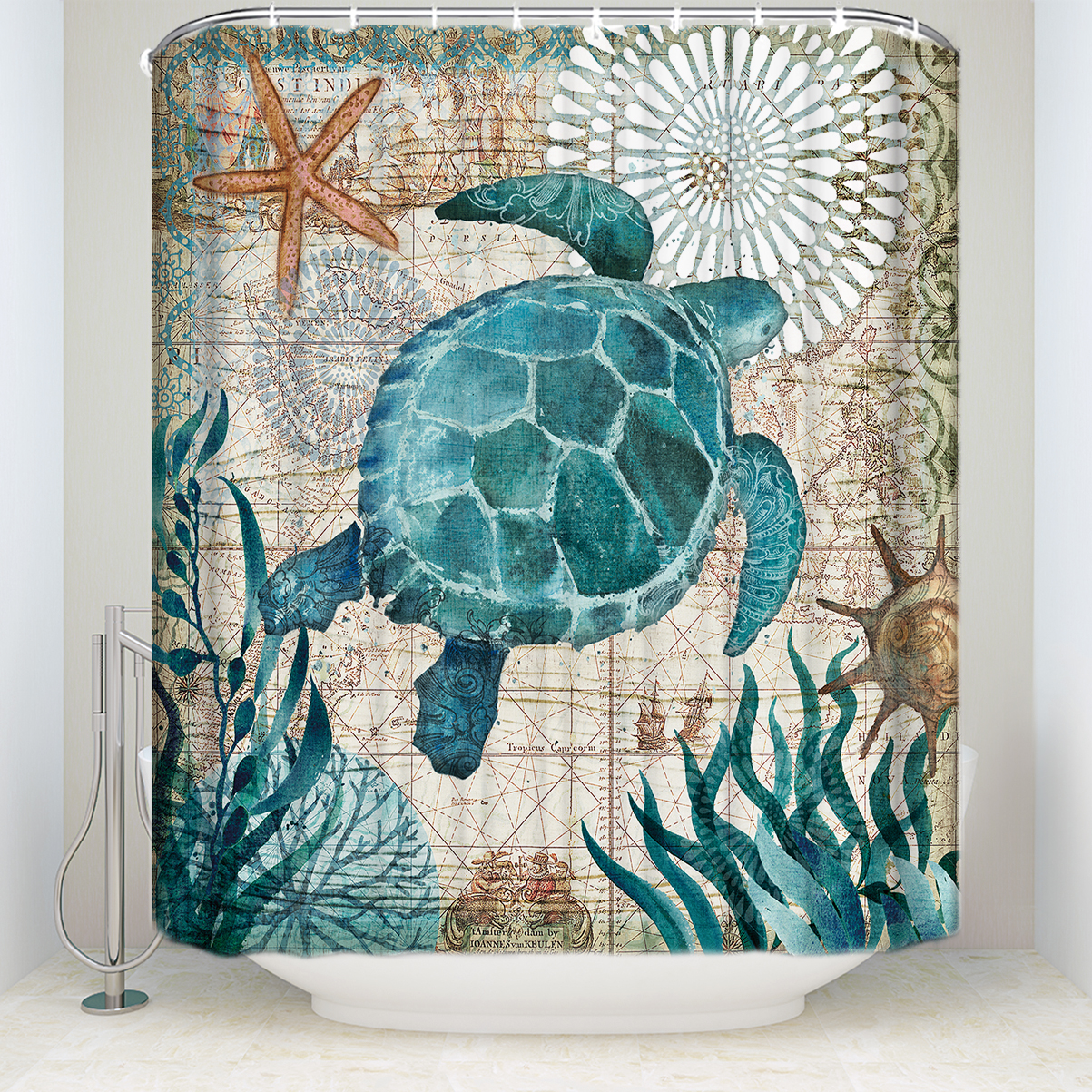 Fabric Shower Curtain Sea Turtle Home Decor Bathroom ...