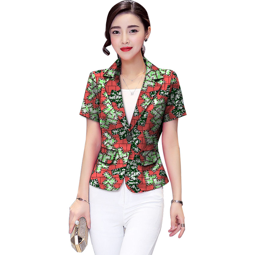 African Print Women Suit Jacket Africa Festive Ladies Short Sleeve ...