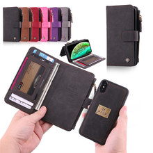 все цены на Folio Stand Phone Case with Card Slots Detachable Magnet Back Cover PU Leather Protection Shell for iPhone 6 6S 7 8 X XR XS MAX онлайн