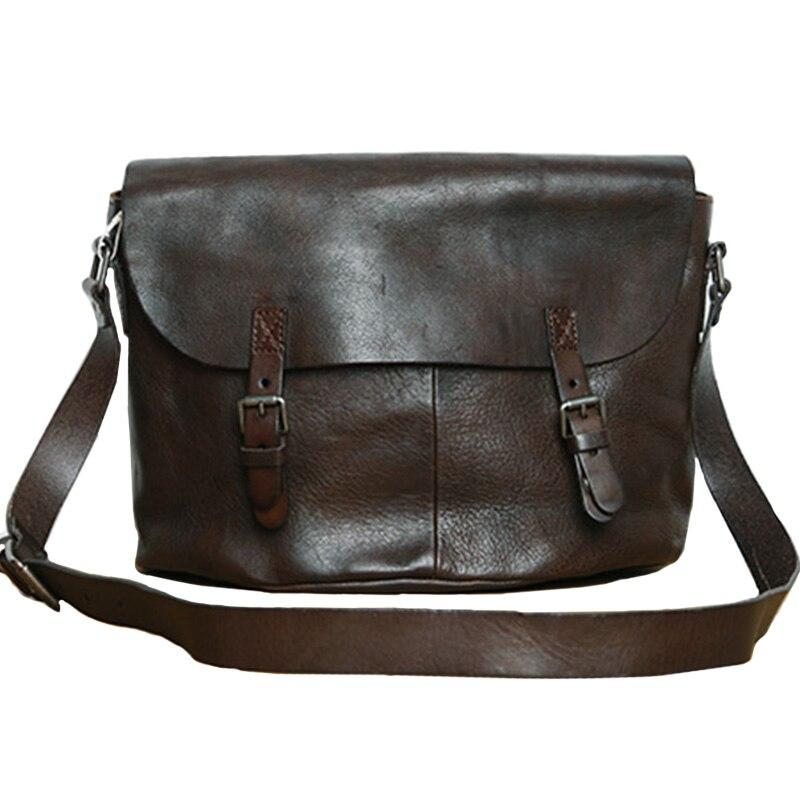 LAN genuine leather mens shoulder bag leisure handbag Plant tanned cow leather bag Japanese style