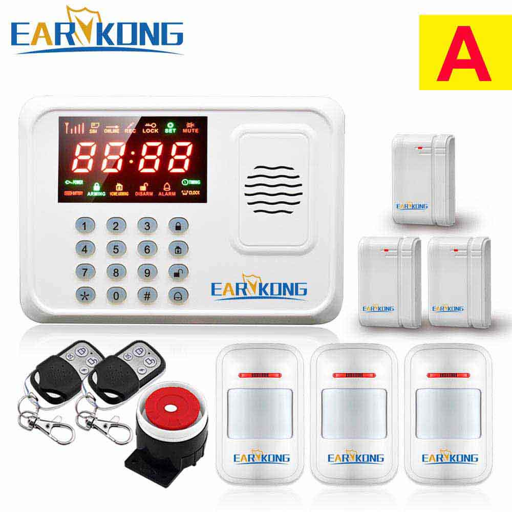 Security Protection Wireless 433MHz GSM Alarm System White Color Home Burglar Alarm System Inside Antenna Keyboard Motion Sensor free shipping 433mhz wireless motion sensor alarm for home burglar security pstn gsm wifi g90b alarm system never false alarm