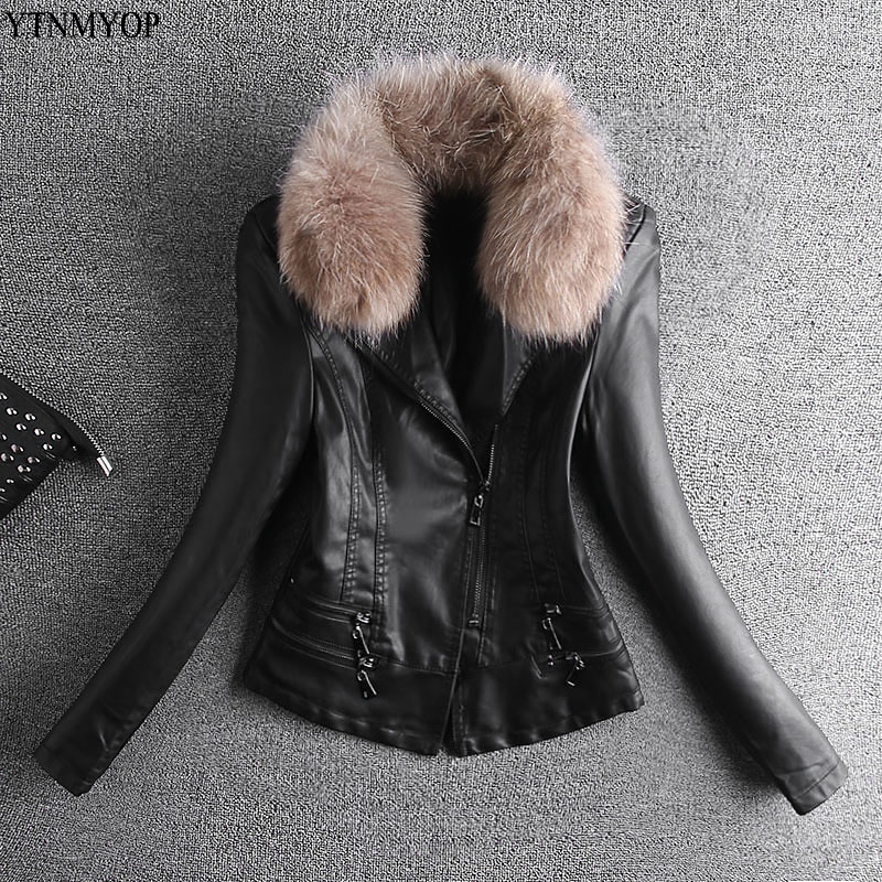YTNMYOP New Fashion   Leather   Jacket Women Real Fur Collar Office Lady   Leather   Coat Outerwear Clothing   Suede   Spring And Autumn