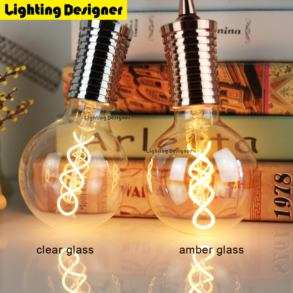 G95 Edison bulb LED E27 Double helix Vintage Filament Retro Energy saving lamp light fixture Lighting Art chandelier 220V 4W free shipping globle g125 amber glass led 4w spiral filament lamp for vintage edison fixture e27 220v lighting bulb